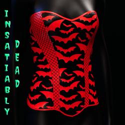 Halloween Bat Fishnet Corset [Red]