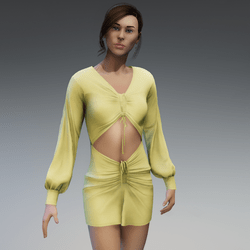 Ruched coutout dress - yellow