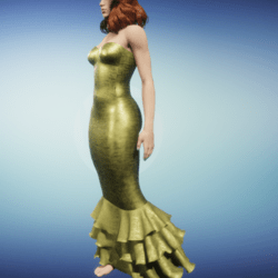 mermaid dress-- gold
