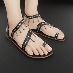 Metal beaded sandals (Black) (slatanic mechanic)