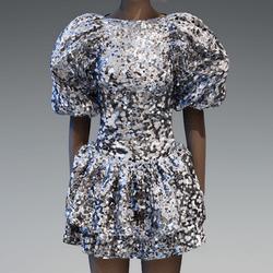 Silver Large glitter puff sleeve dress