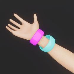 80's Multi-Coloured Bangles (Pink/Blue)