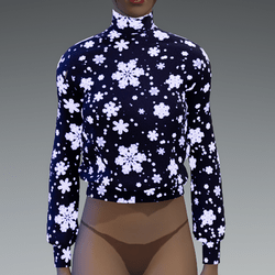 Emissive blue snowflakes sweater