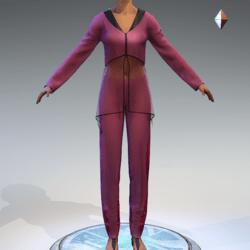 Sheer Tunic Suit - Pink Wool