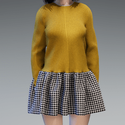 YELLOW SWEATER HOUNDSTOOTH DRESS