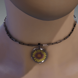 Yellow & violet resin daisy necklace