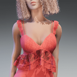 Lace Summer Top in Coral