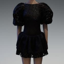 Black lace large puff sleeve dress