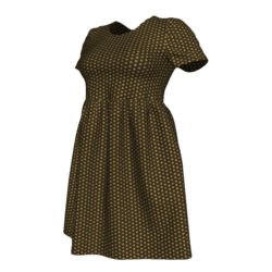 Brown Polka-dot Babydoll Dress