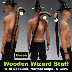 Wooden Wizard Staff - Green Orb