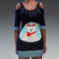 Blue Christmas Dress Snowbear