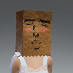 paper bag hat meme blush