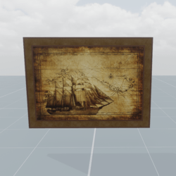 Ancient painting of a sailing ship