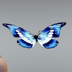 Glowing animated Butterfly pet blue [Ear slot]