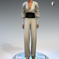 Wrapped Pantsuit - Linen and Leather - Cream