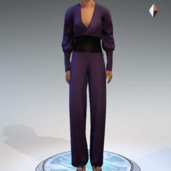 Wrapped Pantsuit - Linen and Leather - Purple