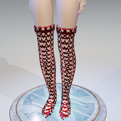 Valentine's Red Hearts High Boots - Female