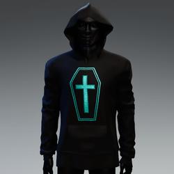 Unisex Coffin Cross Hoodie [Aqua]