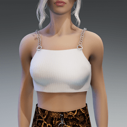 90s Vibes Top with Chains in White
