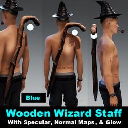 Wooden Wizard Staff - Blue Orb