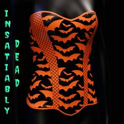 Halloween Bat Fishnet Corset [Orange]