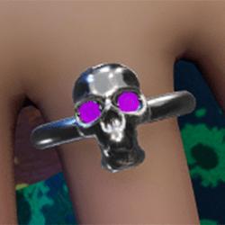 Emissive violet eyes Silver skull ring