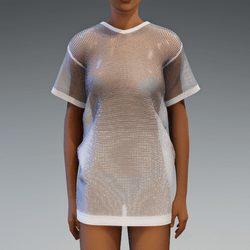 White Gradient Fishnet Dress