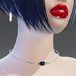 Multicolor Stone Yellow and White Gold Necklace - Female