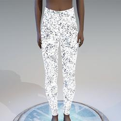 Emissive silver glitter leggings