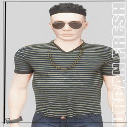 [URBAN FRESH] Mens Clean V neck yellow striped shirt