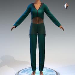 Sheer Tunic Suit - Seafoam Wool