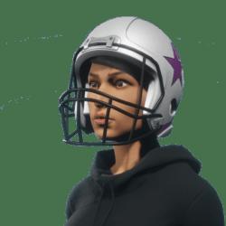 american football white helmet female