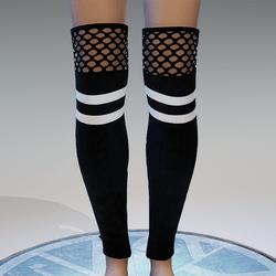 Sporty Stockings Black & White Striped
