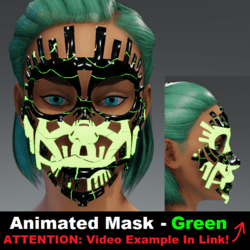 Animated Mask: Green - Female Avatars