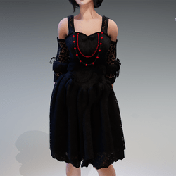 """Gothic Fairy Dress """"Rokoko"""" with Red & Black Pearls"""