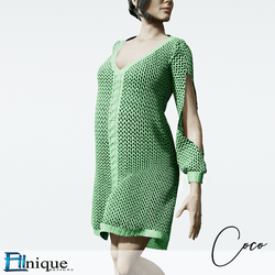 Coco Green Sweater dress cutout arms