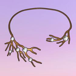 Bare Tree Choker wPearls Gold-White