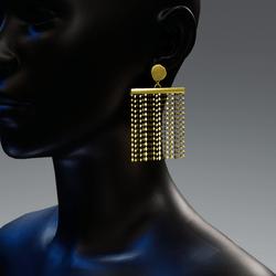 Vintage rhombus rain earrings - gold