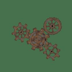 Set of Steampunk Rusty Gears