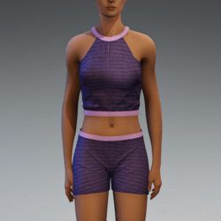 Cleo Short Set - Grape and Pink