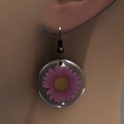 Pink resin daisy earrings