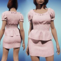 Polka Dot Skirt and Top - Pink