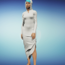 ivory leather hooded dress