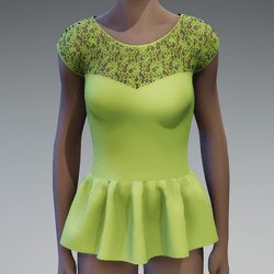 Chartreuse peplum lace top