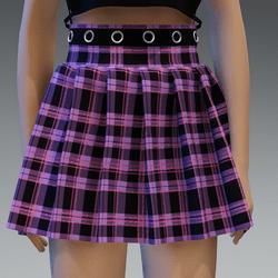 purple checkerd pleated skirt