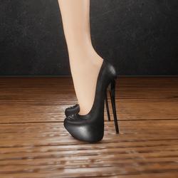 Classic black leather heels (slatanic mechanic)
