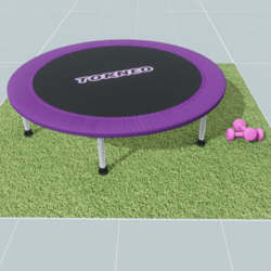 trampoline and grass area