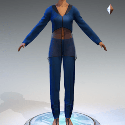 Sheer Tunic Suit - Blue Wool