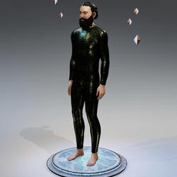 Metallic Green Synthetic Chameleon Skin Bodysuit