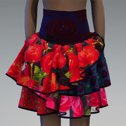 Layered floral ruffle skirt